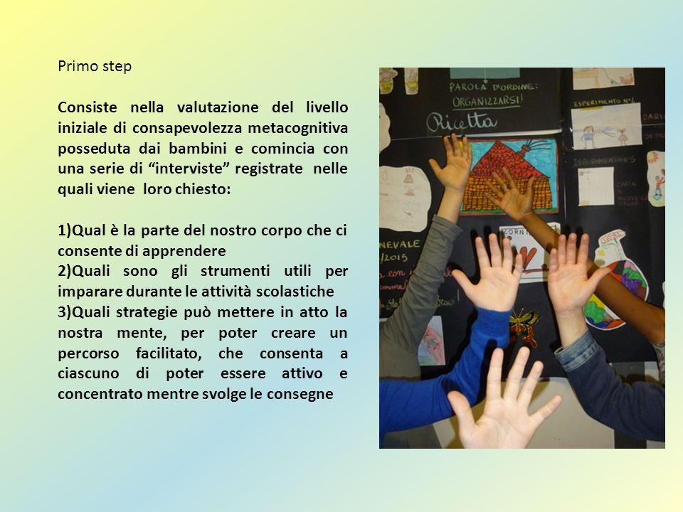 """Primo step Consiste nella valutazione del livello iniziale di consapevolezza metacognitiva posseduta dai bambini e comincia con una serie di """"intervis"""