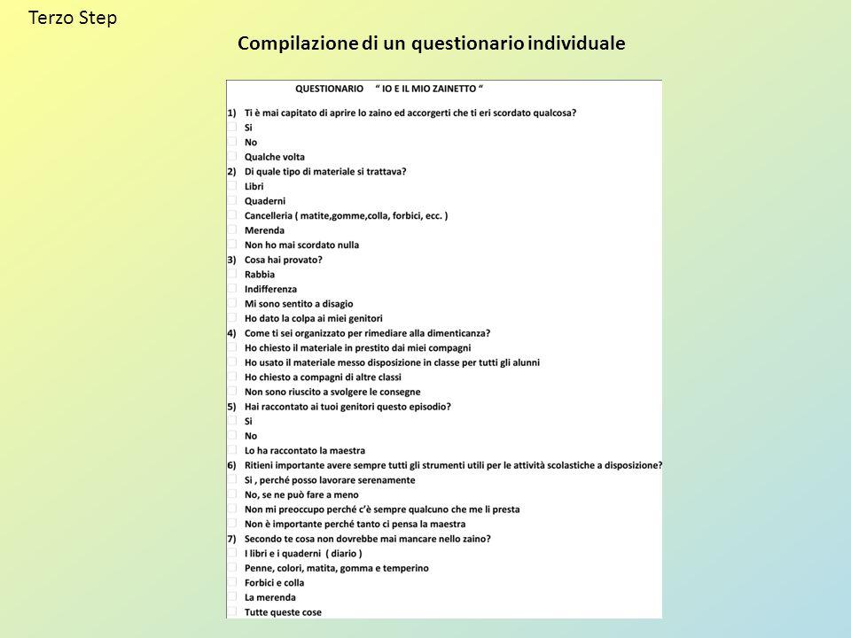 Terzo Step Compilazione di un questionario individuale