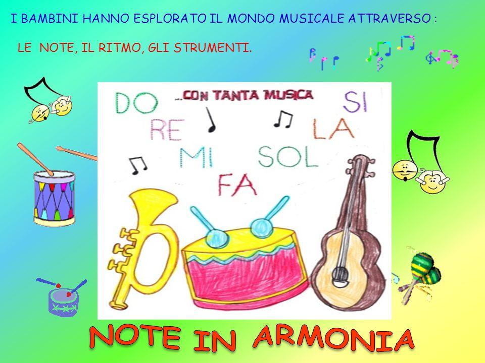 I BAMBINI HANNO ESPLORATO IL MONDO MUSICALE ATTRAVERSO : LE NOTE, IL RITMO, GLI STRUMENTI.