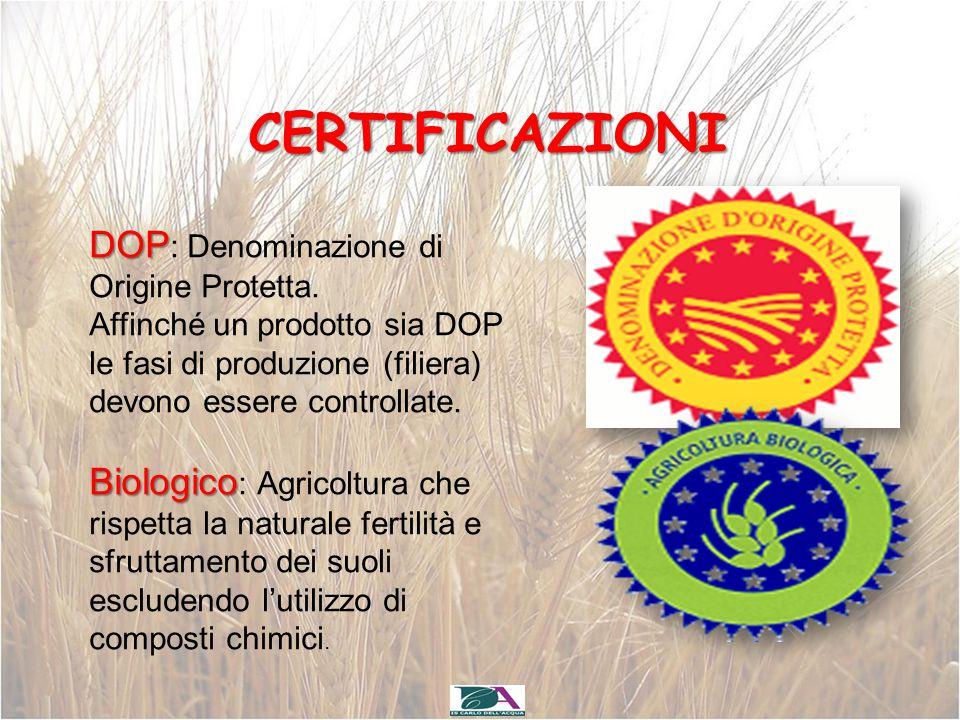 CERTIFICAZIONI DOP DOP : Denominazione di Origine Protetta. Affinché un prodotto sia DOP le fasi di produzione (filiera) devono essere controllate. Bi