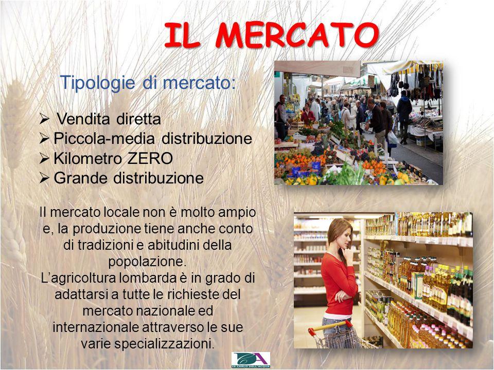 IL MERCATO Tipologie di mercato:  Vendita diretta  Piccola-media distribuzione  Kilometro ZERO  Grande distribuzione Il mercato locale non è molto