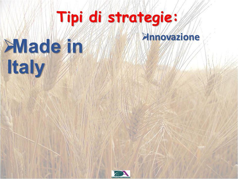 Tipi di strategie:  Made in Italy  Innovazione