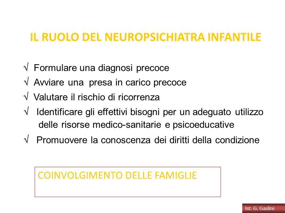 IL RUOLO DEL NEUROPSICHIATRA INFANTILE  Formulare una diagnosi precoce  Avviare una presa in carico precoce  Valutare il rischio di ricorrenza  Id