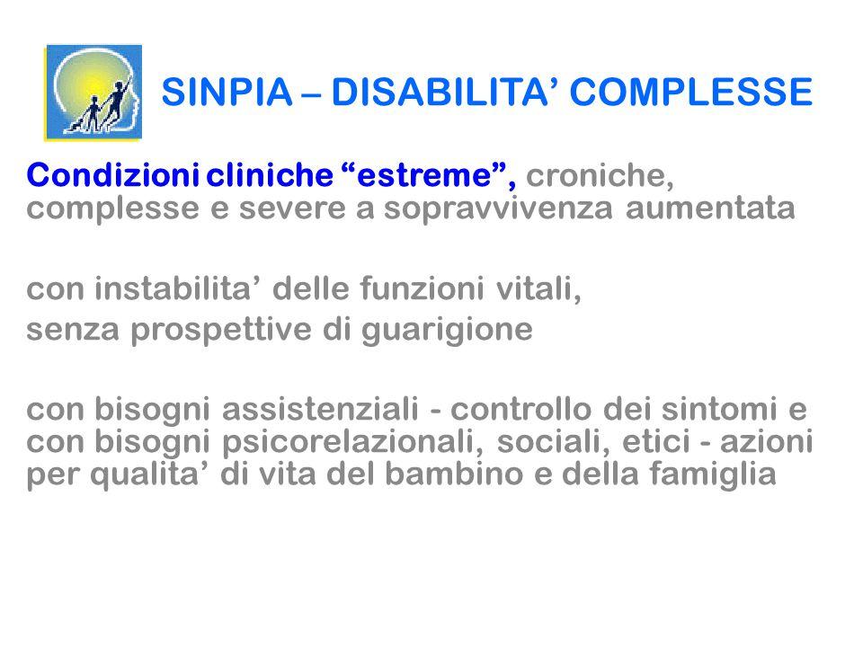 """SINPIA – DISABILITA' COMPLESSE Condizioni cliniche """"estreme"""", croniche, complesse e severe a sopravvivenza aumentata con instabilita' delle funzioni v"""