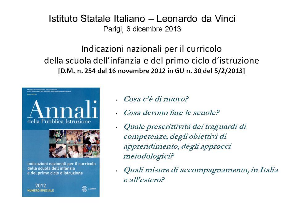 Indicazioni nazionali per il curricolo della scuola dell'infanzia e del primo ciclo d'istruzione [D.M. n. 254 del 16 novembre 2012 in GU n. 30 del 5/2