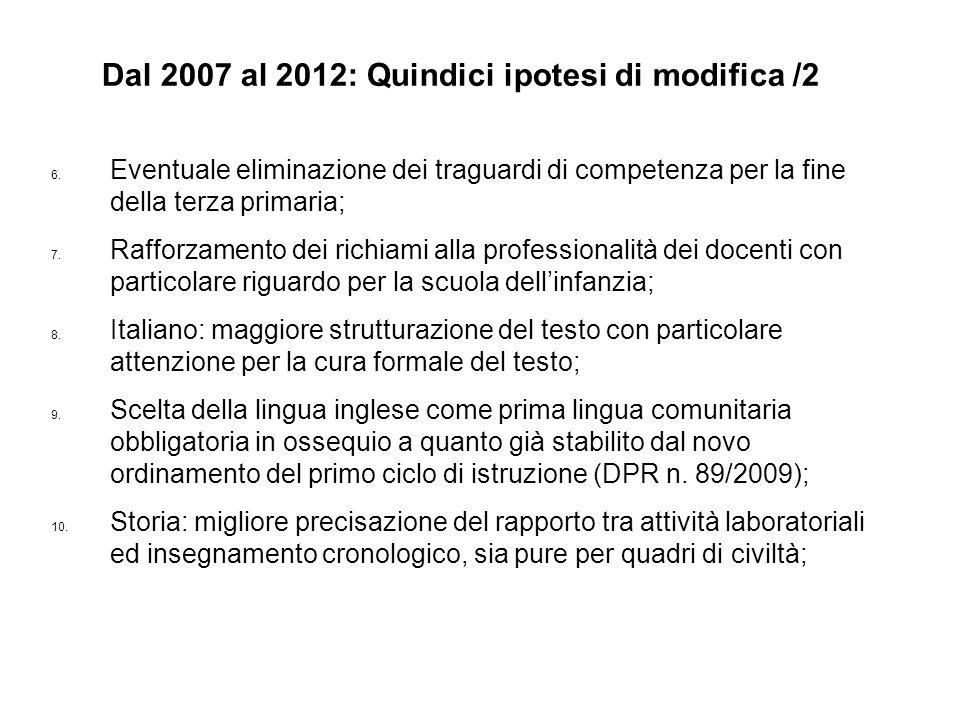6. Eventuale eliminazione dei traguardi di competenza per la fine della terza primaria; 7. Rafforzamento dei richiami alla professionalità dei docenti