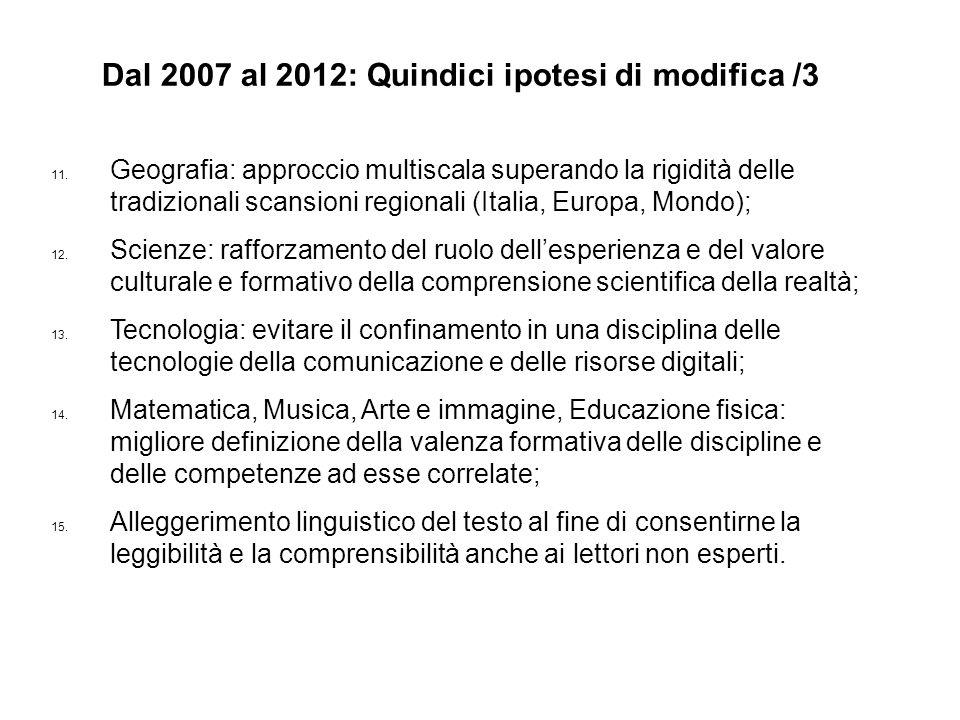 11. Geografia: approccio multiscala superando la rigidità delle tradizionali scansioni regionali (Italia, Europa, Mondo); 12. Scienze: rafforzamento d