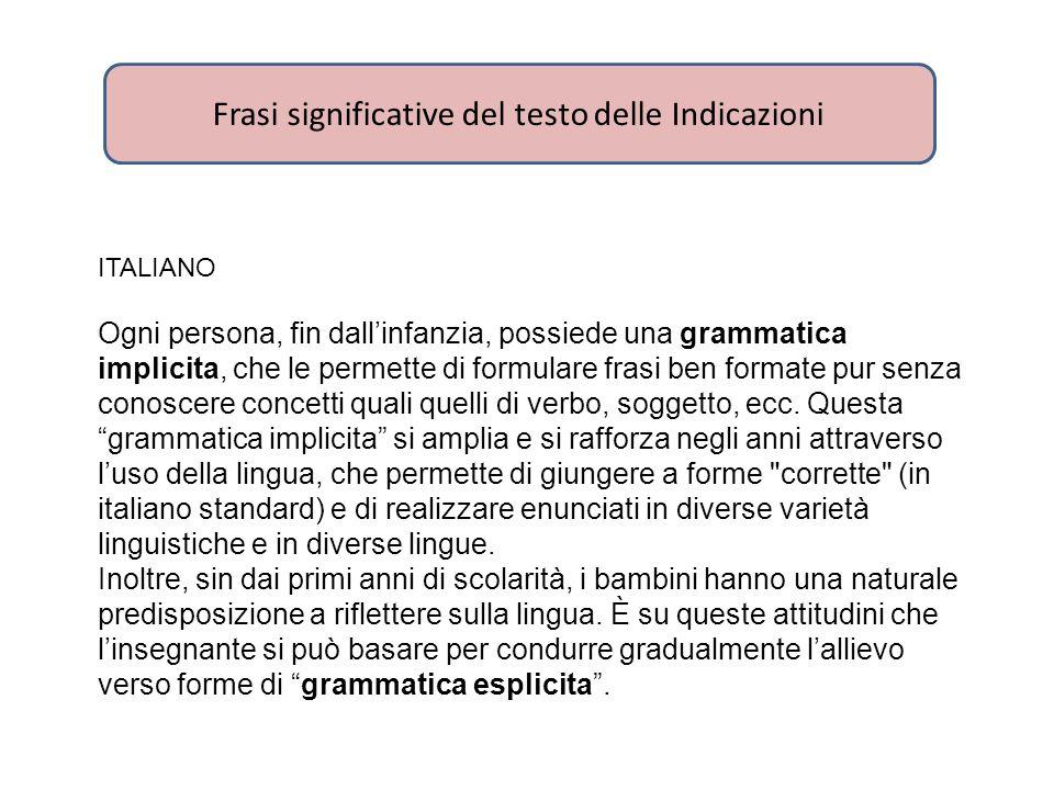 ITALIANO Ogni persona, fin dall'infanzia, possiede una grammatica implicita, che le permette di formulare frasi ben formate pur senza conoscere concet