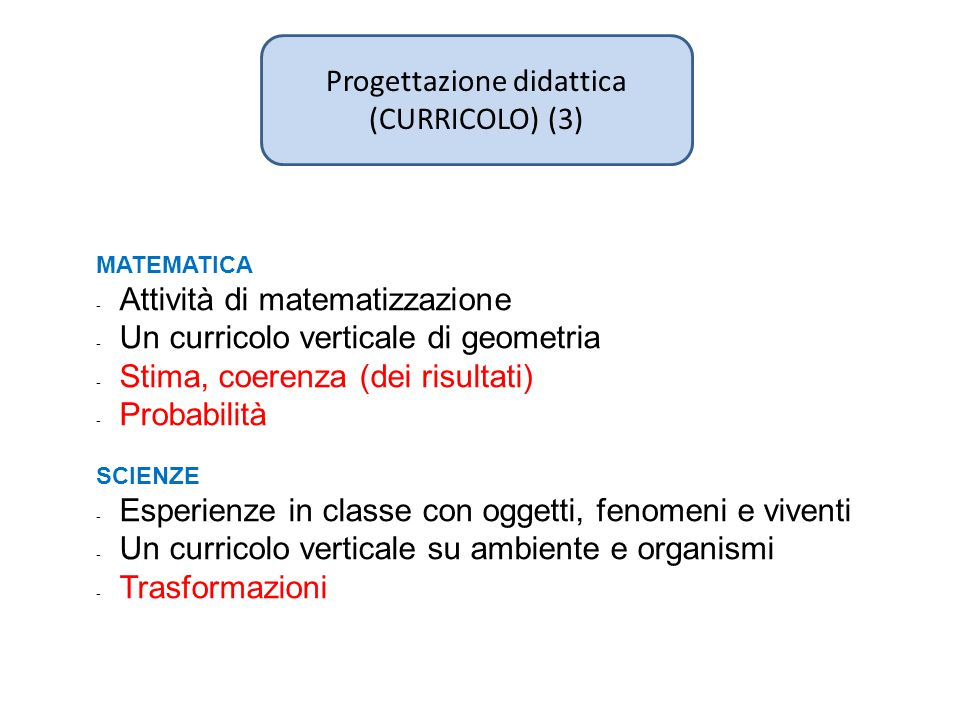 Progettazione didattica (CURRICOLO) (3) MATEMATICA - Attività di matematizzazione - Un curricolo verticale di geometria - Stima, coerenza (dei risulta