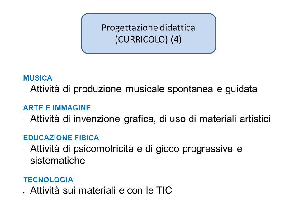 Progettazione didattica (CURRICOLO) (4) MUSICA - Attività di produzione musicale spontanea e guidata ARTE E IMMAGINE - Attività di invenzione grafica,