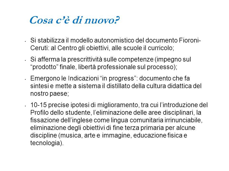 Cosa c'è di nuovo? Si stabilizza il modello autonomistico del documento Fioroni- Ceruti: al Centro gli obiettivi, alle scuole il curricolo; Si afferma