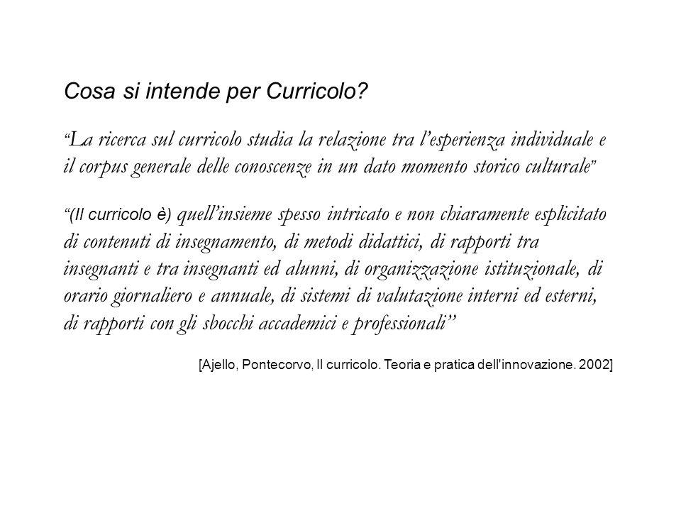 """Cosa si intende per Curricolo? """" La ricerca sul curricolo studia la relazione tra l'esperienza individuale e il corpus generale delle conoscenze in un"""
