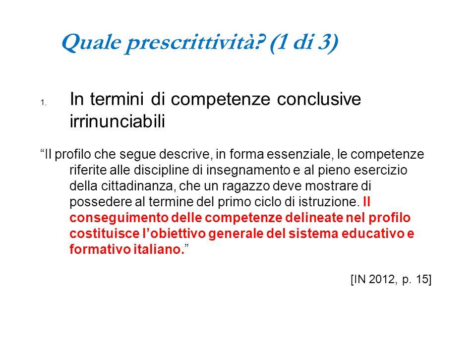 """Quale prescrittività? (1 di 3) 1. In termini di competenze conclusive irrinunciabili """"Il profilo che segue descrive, in forma essenziale, le competenz"""