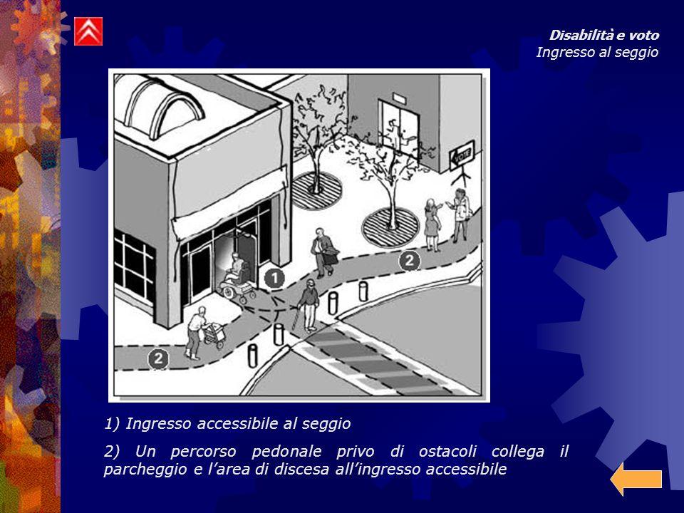 Disabilità e voto Ingresso al seggio 1) Ingresso accessibile al seggio 2) Un percorso pedonale privo di ostacoli collega il parcheggio e l'area di discesa all'ingresso accessibile