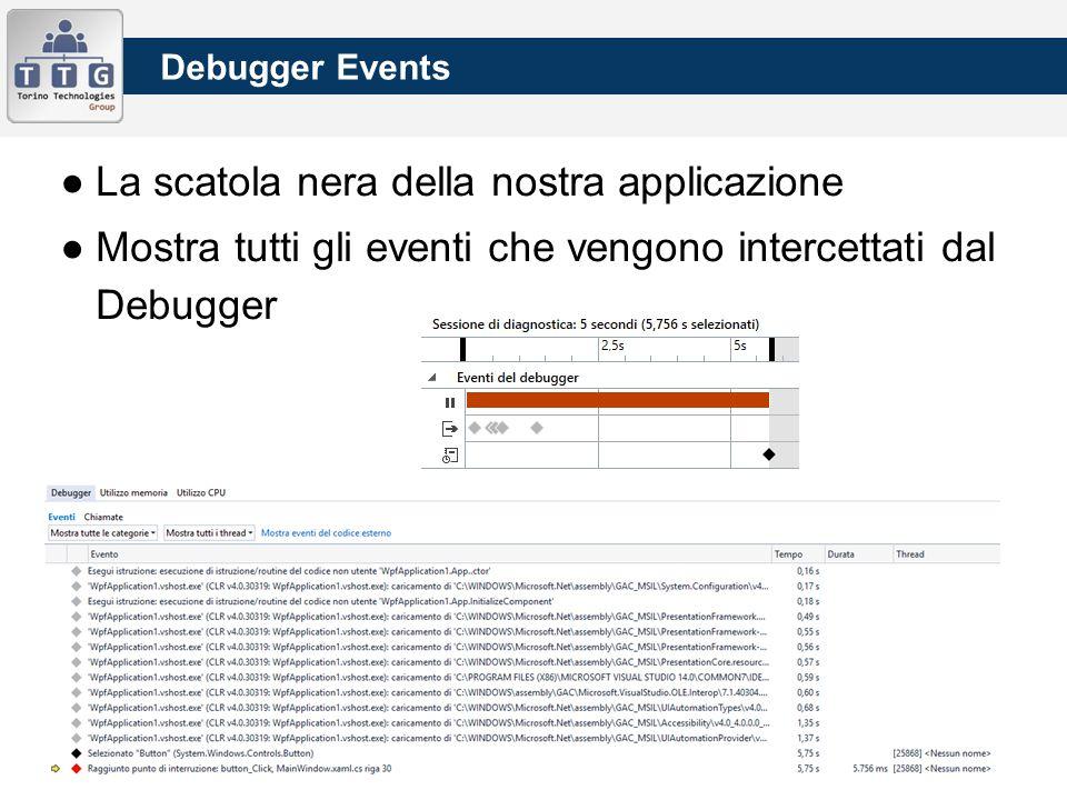 Debugger Events ●La scatola nera della nostra applicazione ●Mostra tutti gli eventi che vengono intercettati dal Debugger