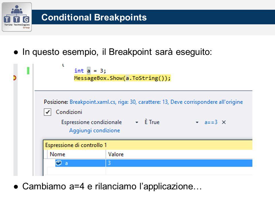 ●In questo esempio, il Breakpoint sarà eseguito: ●Cambiamo a=4 e rilanciamo l'applicazione… Conditional Breakpoints