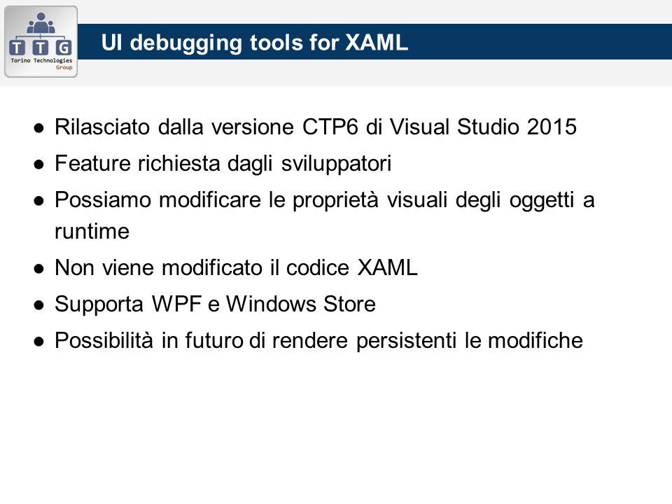 UI debugging tools for XAML ●Rilasciato dalla versione CTP6 di Visual Studio 2015 ●Feature richiesta dagli sviluppatori ●Possiamo modificare le proprietà visuali degli oggetti a runtime ●Non viene modificato il codice XAML ●Supporta WPF e Windows Store ●Possibilità in futuro di rendere persistenti le modifiche