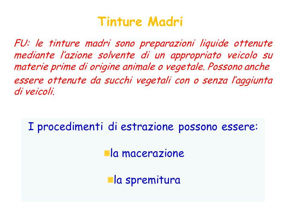 FU: le tinture madri sono preparazioni liquide ottenute mediante l'azione solvente di un appropriato veicolo su materie prime di origine animale o vegetale.