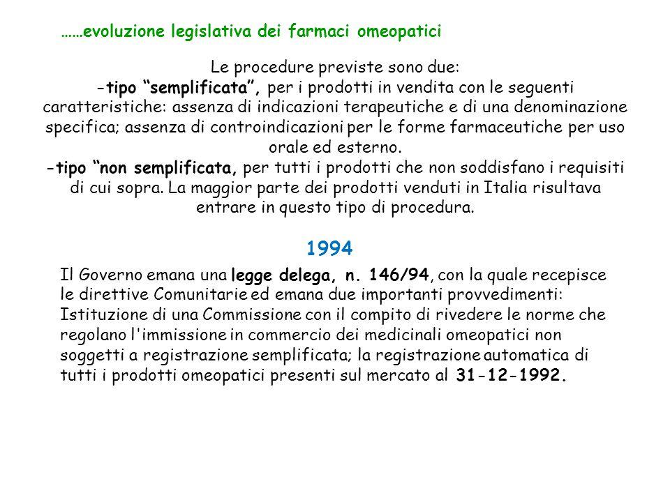 """Le procedure previste sono due: -tipo """"semplificata"""", per i prodotti in vendita con le seguenti caratteristiche: assenza di indicazioni terapeutiche e"""