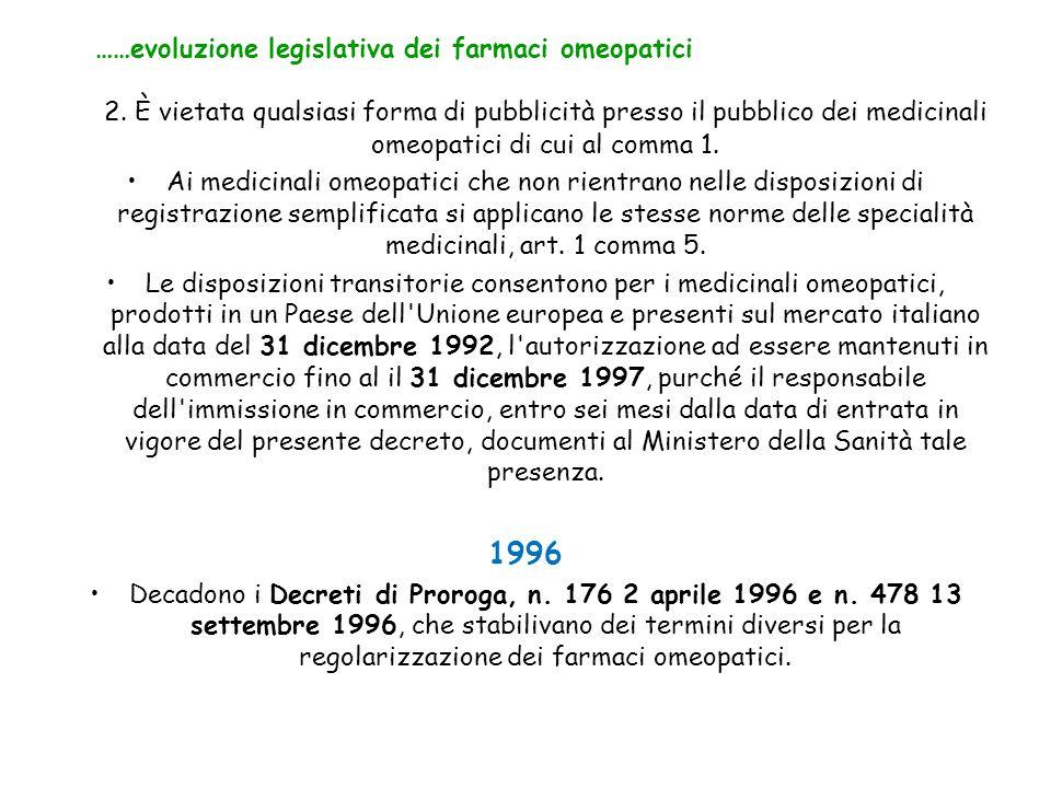 2. È vietata qualsiasi forma di pubblicità presso il pubblico dei medicinali omeopatici di cui al comma 1. Ai medicinali omeopatici che non rientrano