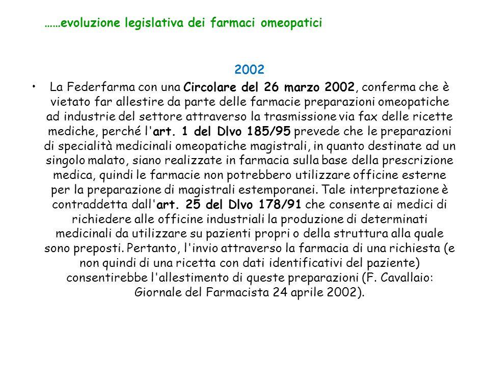 2002 La Federfarma con una Circolare del 26 marzo 2002, conferma che è vietato far allestire da parte delle farmacie preparazioni omeopatiche ad industrie del settore attraverso la trasmissione via fax delle ricette mediche, perché l art.