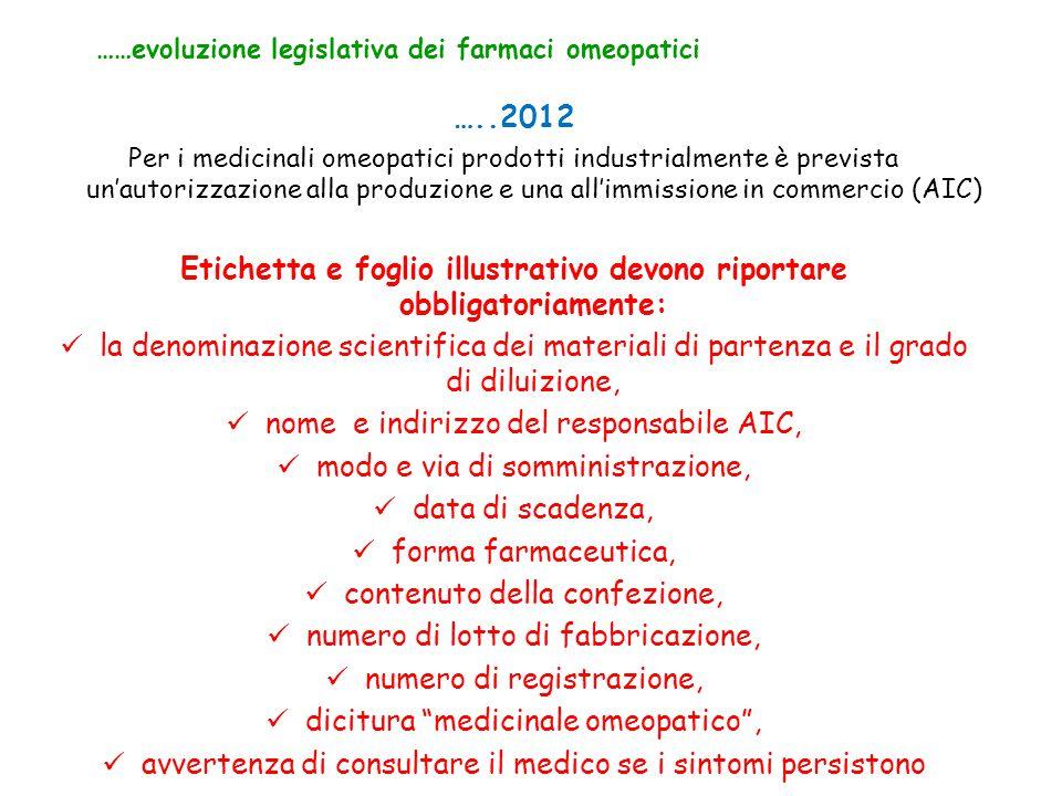 …..2012 Per i medicinali omeopatici prodotti industrialmente è prevista un'autorizzazione alla produzione e una all'immissione in commercio (AIC) Etic