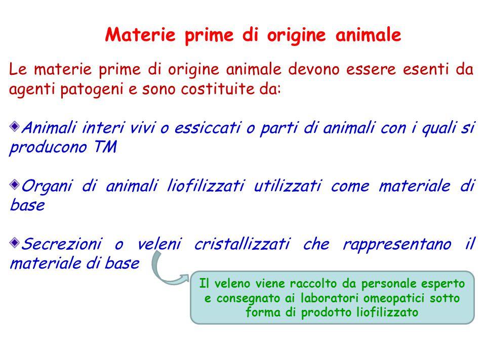 Materie prime di origine animale Le materie prime di origine animale devono essere esenti da agenti patogeni e sono costituite da: Animali interi vivi