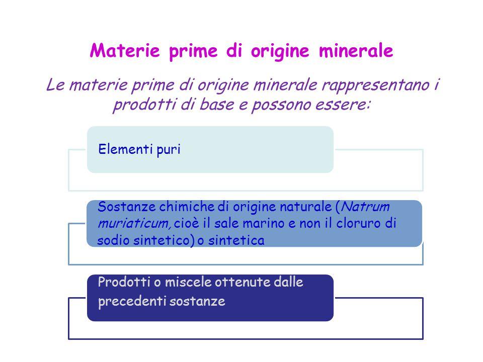 Materie prime di origine minerale Le materie prime di origine minerale rappresentano i prodotti di base e possono essere: Elementi puri Sostanze chimiche di origine naturale (Natrum muriaticum, cioè il sale marino e non il cloruro di sodio sintetico) o sintetica Prodotti o miscele ottenute dalle precedenti sostanze