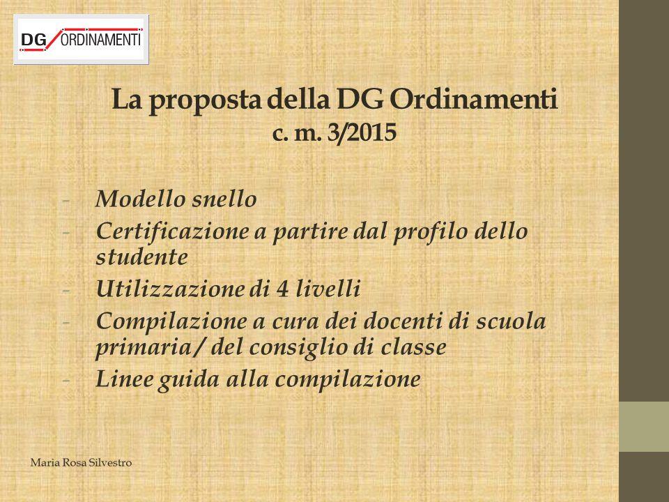 La proposta della DG Ordinamenti c. m. 3/2015 - Modello snello - Certificazione a partire dal profilo dello studente - Utilizzazione di 4 livelli - Co