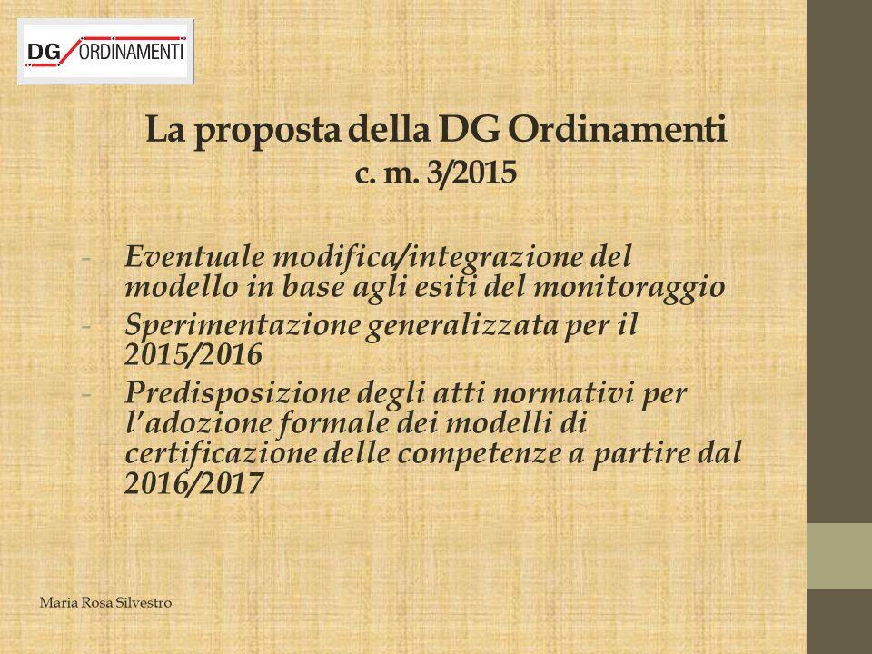 La proposta della DG Ordinamenti c. m. 3/2015 - Eventuale modifica/integrazione del modello in base agli esiti del monitoraggio - Sperimentazione gene