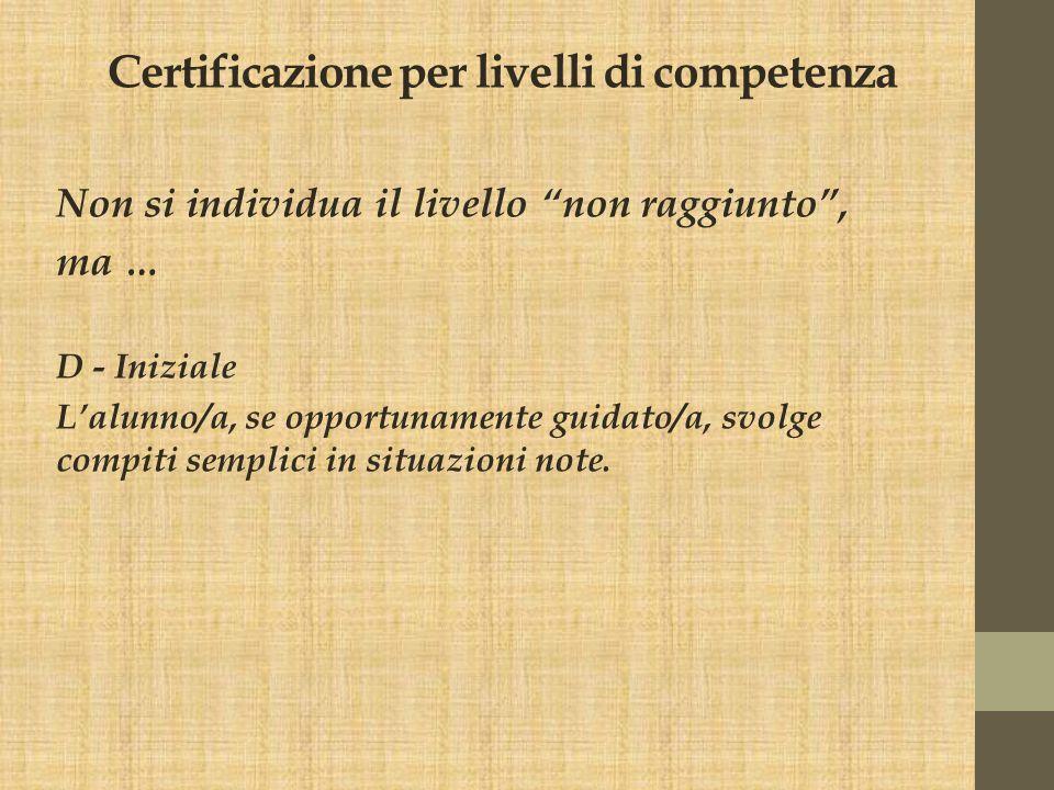 """Certificazione per livelli di competenza Non si individua il livello """"non raggiunto"""", ma … D - Iniziale L'alunno/a, se opportunamente guidato/a, svolg"""