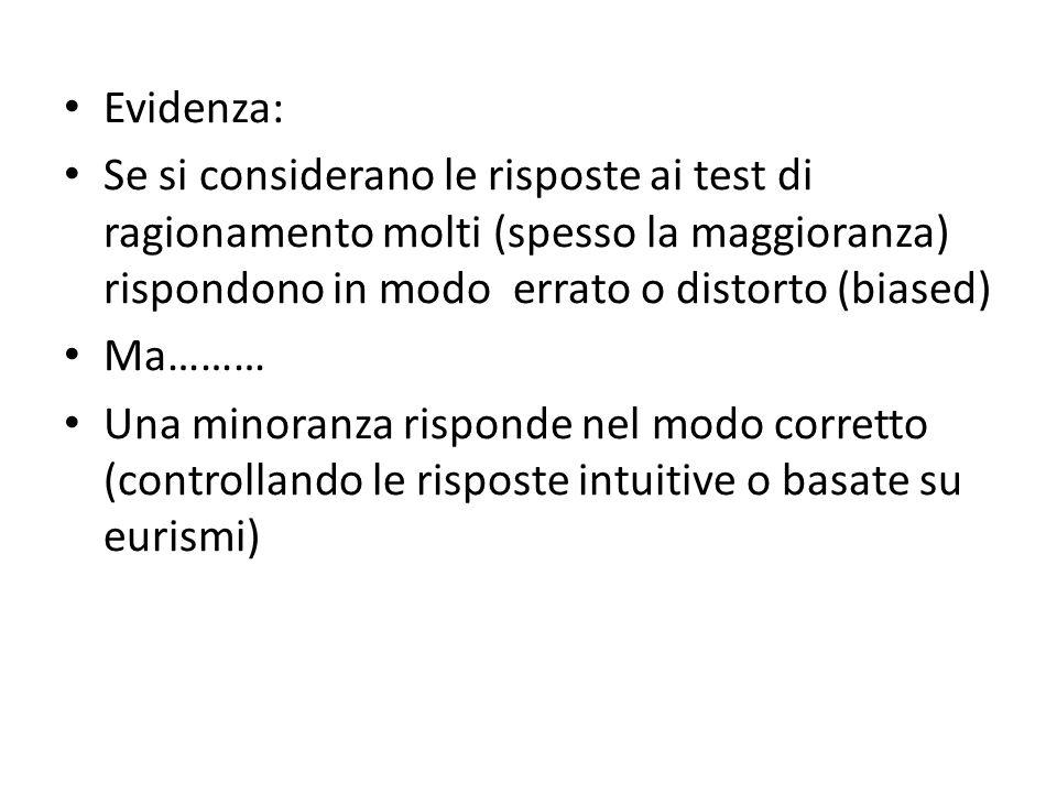 Evidenza: Se si considerano le risposte ai test di ragionamento molti (spesso la maggioranza) rispondono in modo errato o distorto (biased) Ma……… Una