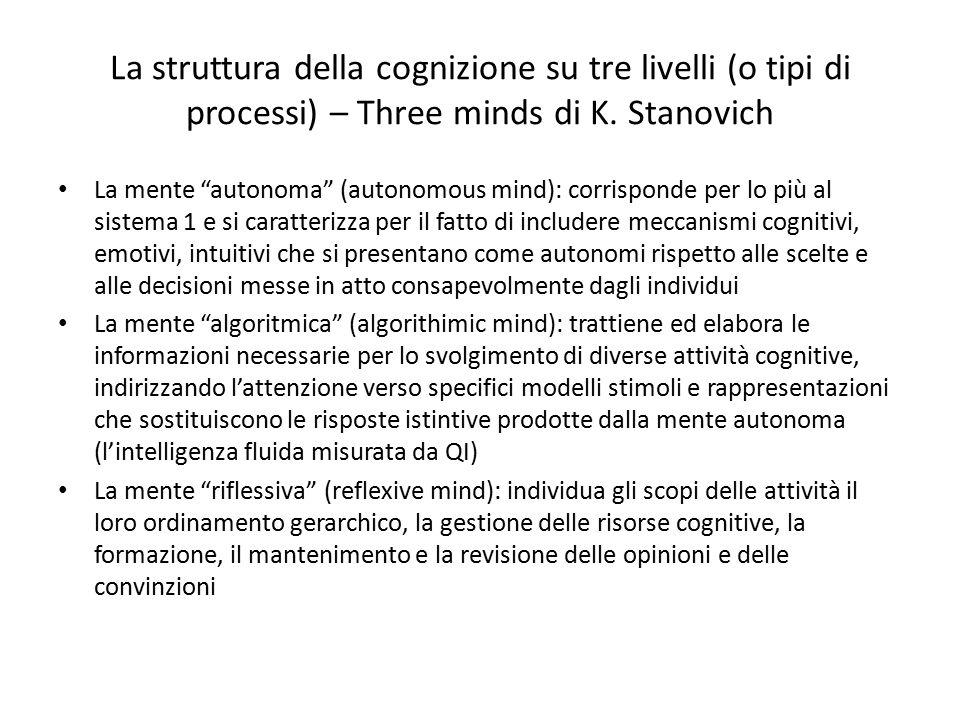 """La struttura della cognizione su tre livelli (o tipi di processi) – Three minds di K. Stanovich La mente """"autonoma"""" (autonomous mind): corrisponde per"""
