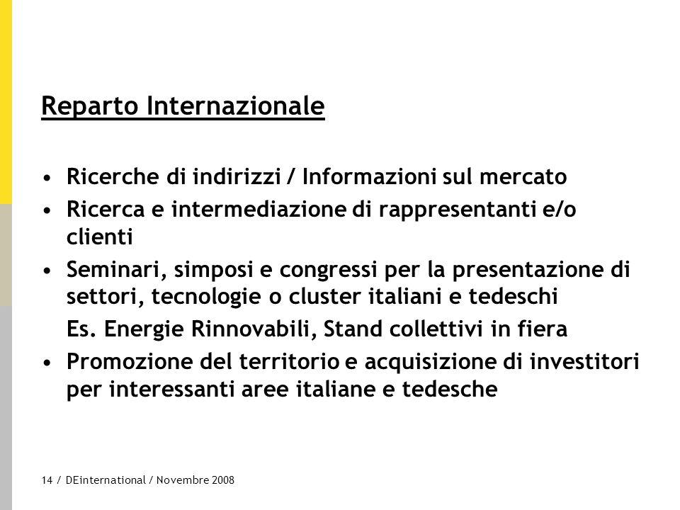 14 / DEinternational / Novembre 2008 Reparto Internazionale Ricerche di indirizzi / Informazioni sul mercato Ricerca e intermediazione di rappresentan
