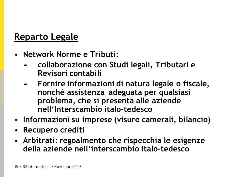 15 / DEinternational / Novembre 2008 Reparto Legale Network Norme e Tributi: =collaborazione con Studi legali, Tributari e Revisori contabili =Fornire