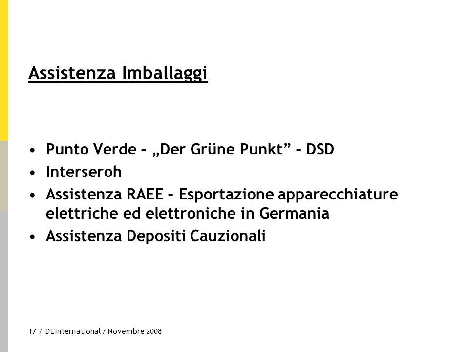"""17 / DEinternational / Novembre 2008 Assistenza Imballaggi Punto Verde – """"Der Grüne Punkt"""" – DSD Interseroh Assistenza RAEE – Esportazione apparecchia"""