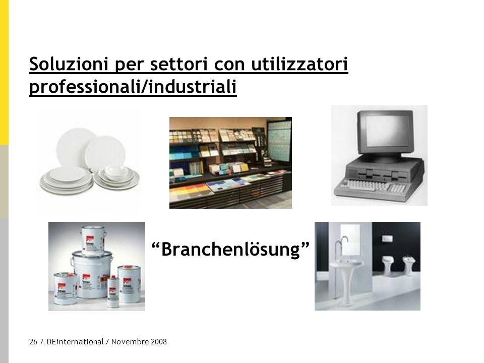 """26 / DEinternational / Novembre 2008 Soluzioni per settori con utilizzatori professionali/industriali """"Branchenlösung"""""""