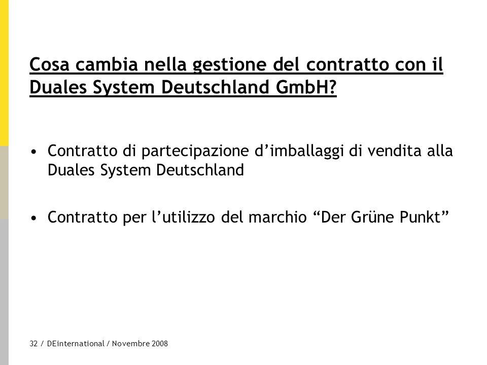 32 / DEinternational / Novembre 2008 Cosa cambia nella gestione del contratto con il Duales System Deutschland GmbH? Contratto di partecipazione d'imb