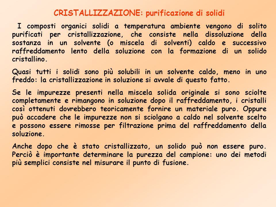 CRISTALLIZZAZIONE: purificazione di solidi I composti organici solidi a temperatura ambiente vengono di solito purificati per cristallizzazione, che c