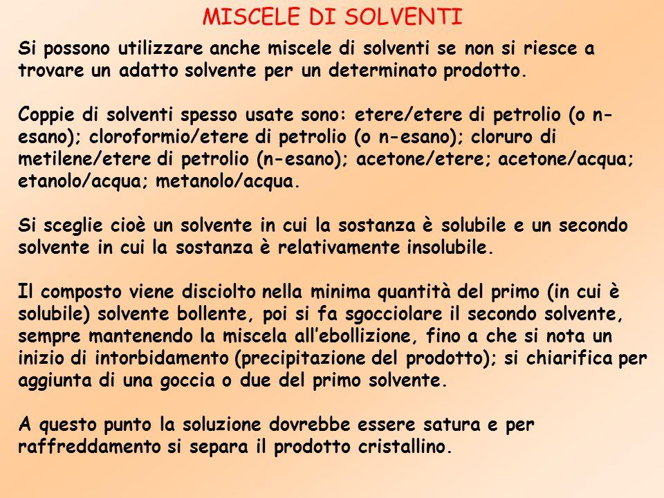 Si possono utilizzare anche miscele di solventi se non si riesce a trovare un adatto solvente per un determinato prodotto. Coppie di solventi spesso u