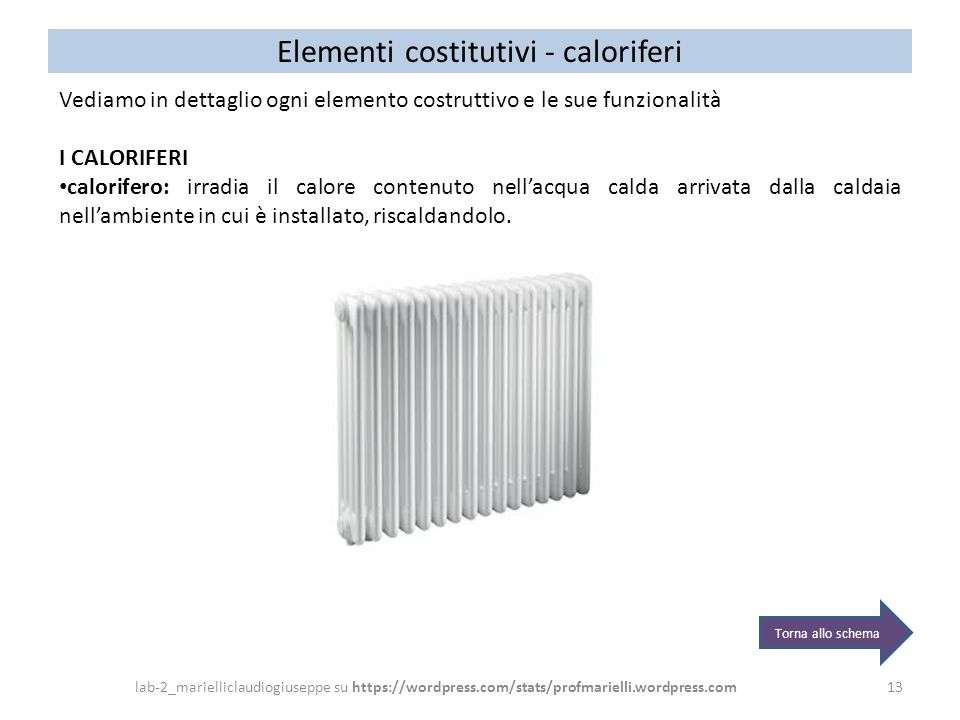 Elementi costitutivi - caloriferi 13 Vediamo in dettaglio ogni elemento costruttivo e le sue funzionalità I CALORIFERI calorifero: irradia il calore c