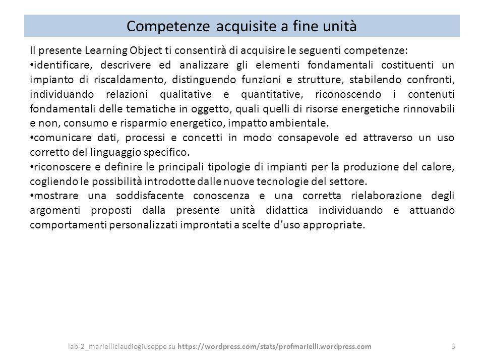 Competenze acquisite a fine unità 3 Il presente Learning Object ti consentirà di acquisire le seguenti competenze: identificare, descrivere ed analizz