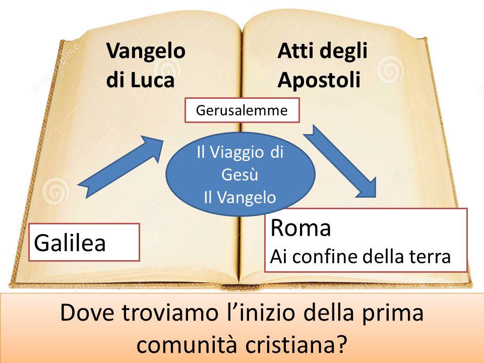 Dove troviamo l'inizio della prima comunità cristiana? Vangelo di Luca Atti degli Apostoli Galilea Gerusalemme Roma Ai confine della terra Il Viaggio