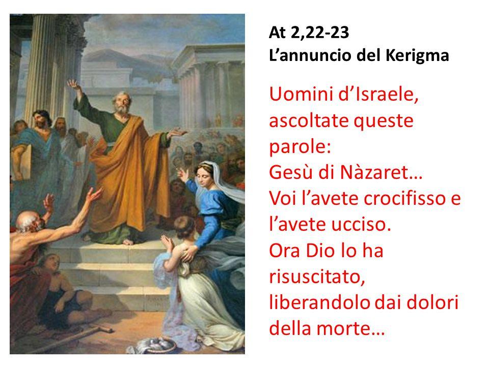At 2,22-23 L'annuncio del Kerigma Uomini d'Israele, ascoltate queste parole: Gesù di Nàzaret… Voi l'avete crocifisso e l'avete ucciso. Ora Dio lo ha r