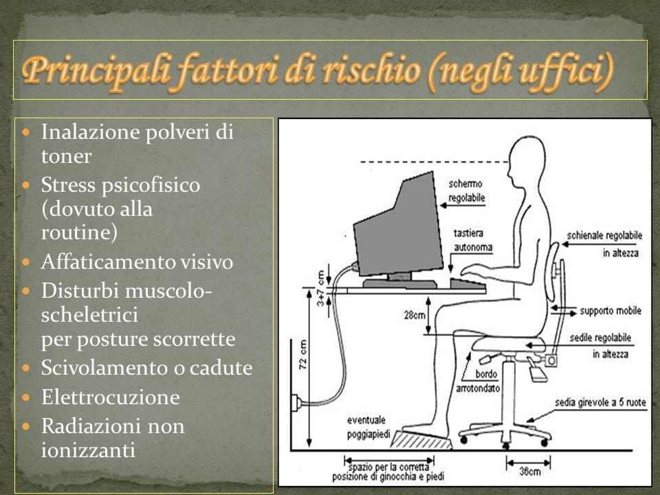 Inalazione polveri di toner Stress psicofisico (dovuto alla routine) Affaticamento visivo Disturbi muscolo- scheletrici per posture scorrette Scivolamento o cadute Elettrocuzione Radiazioni non ionizzanti