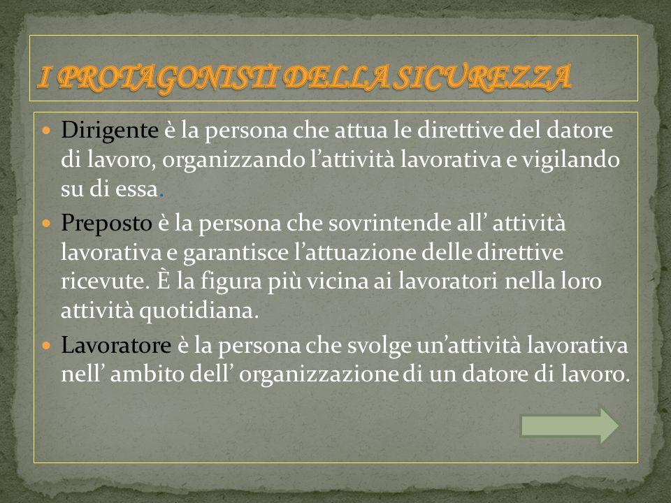 Dirigente è la persona che attua le direttive del datore di lavoro, organizzando l'attività lavorativa e vigilando su di essa.