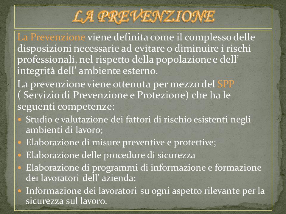 La Prevenzione viene definita come il complesso delle disposizioni necessarie ad evitare o diminuire i rischi professionali, nel rispetto della popolazione e dell' integrità dell' ambiente esterno.