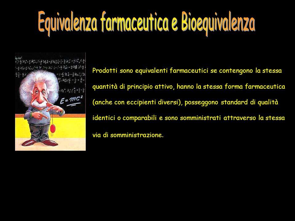 Prodotti sono equivalenti farmaceutici se contengono la stessa quantità di principio attivo, hanno la stessa forma farmaceutica (anche con eccipienti
