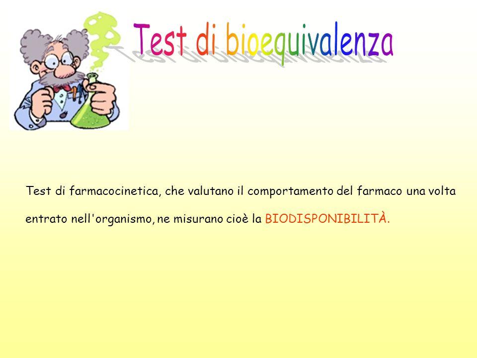 Test di farmacocinetica, che valutano il comportamento del farmaco una volta entrato nell'organismo, ne misurano cioè la BIODISPONIBILITÀ.