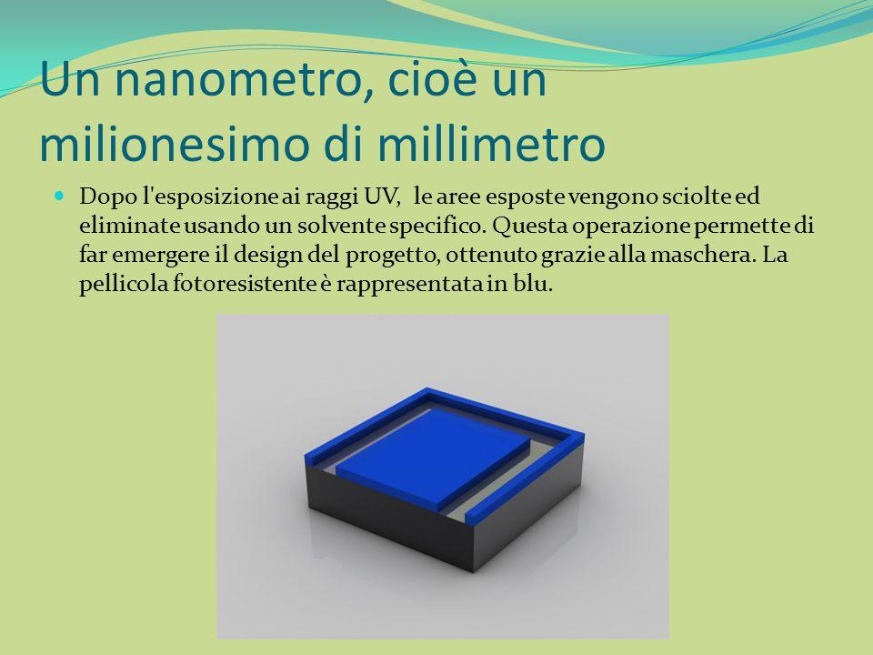 Un nanometro, cioè un milionesimo di millimetro Dopo l'esposizione ai raggi UV, le aree esposte vengono sciolte ed eliminate usando un solvente specif